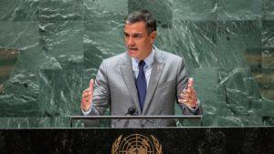 El presidente del Gobierno, Pedro Sánchez, durante su discurso ante la 79 sesión de la Asamblea General de la ONU, en Nueva York.EDUARDO MUÑOZ / EFE